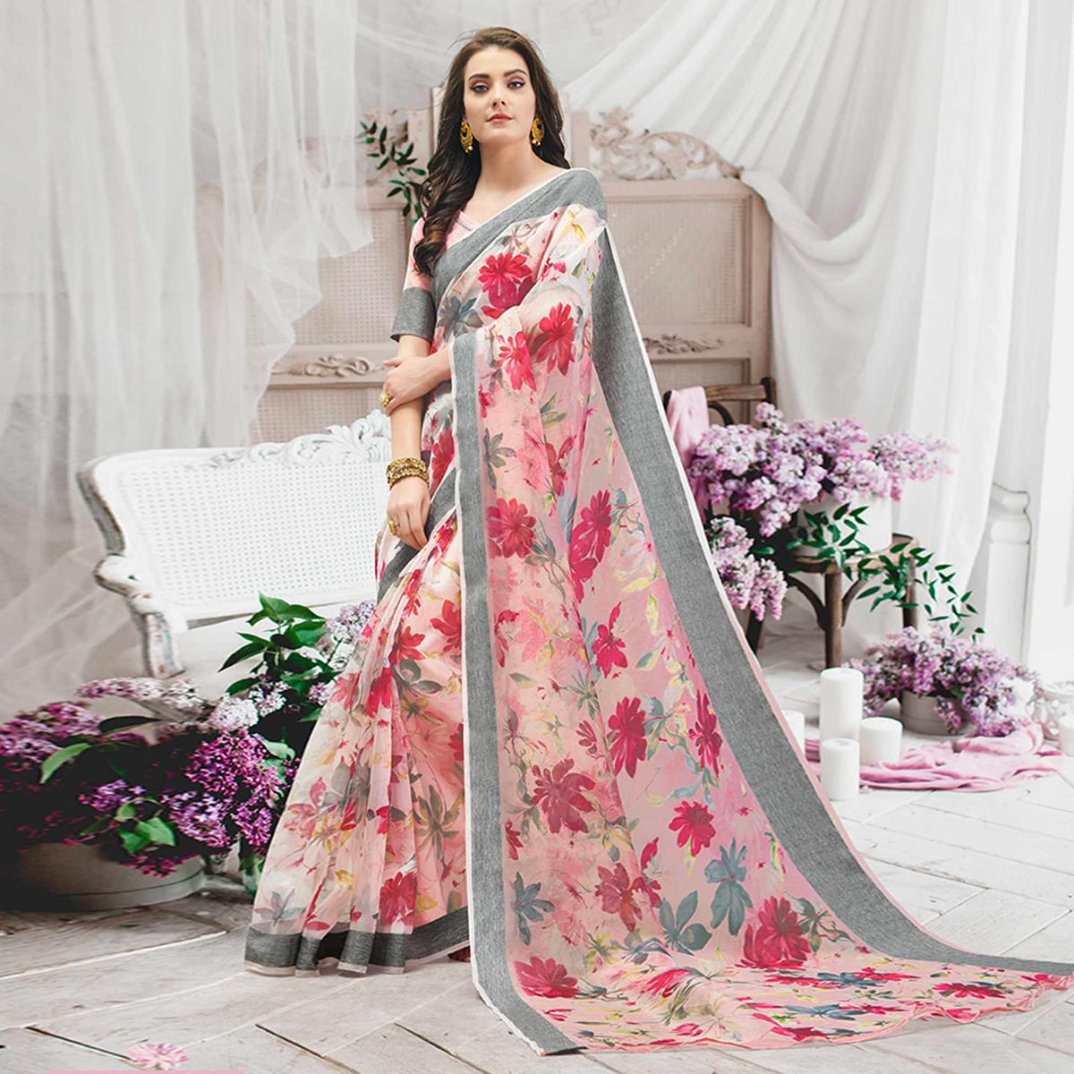 Excellent Pink Colored Casual Wear Floral Printed Organza Saree