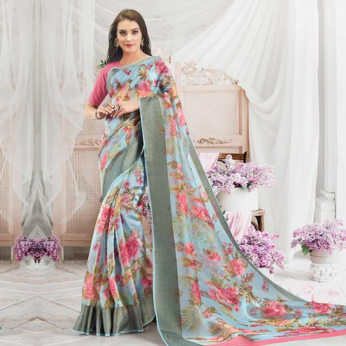 Alluring Blue Colored Casual Wear Floral Printed Organza Saree
