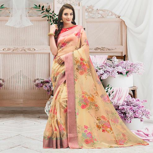 Flaunt Beige Colored Casual Wear Floral Printed Organza Saree
