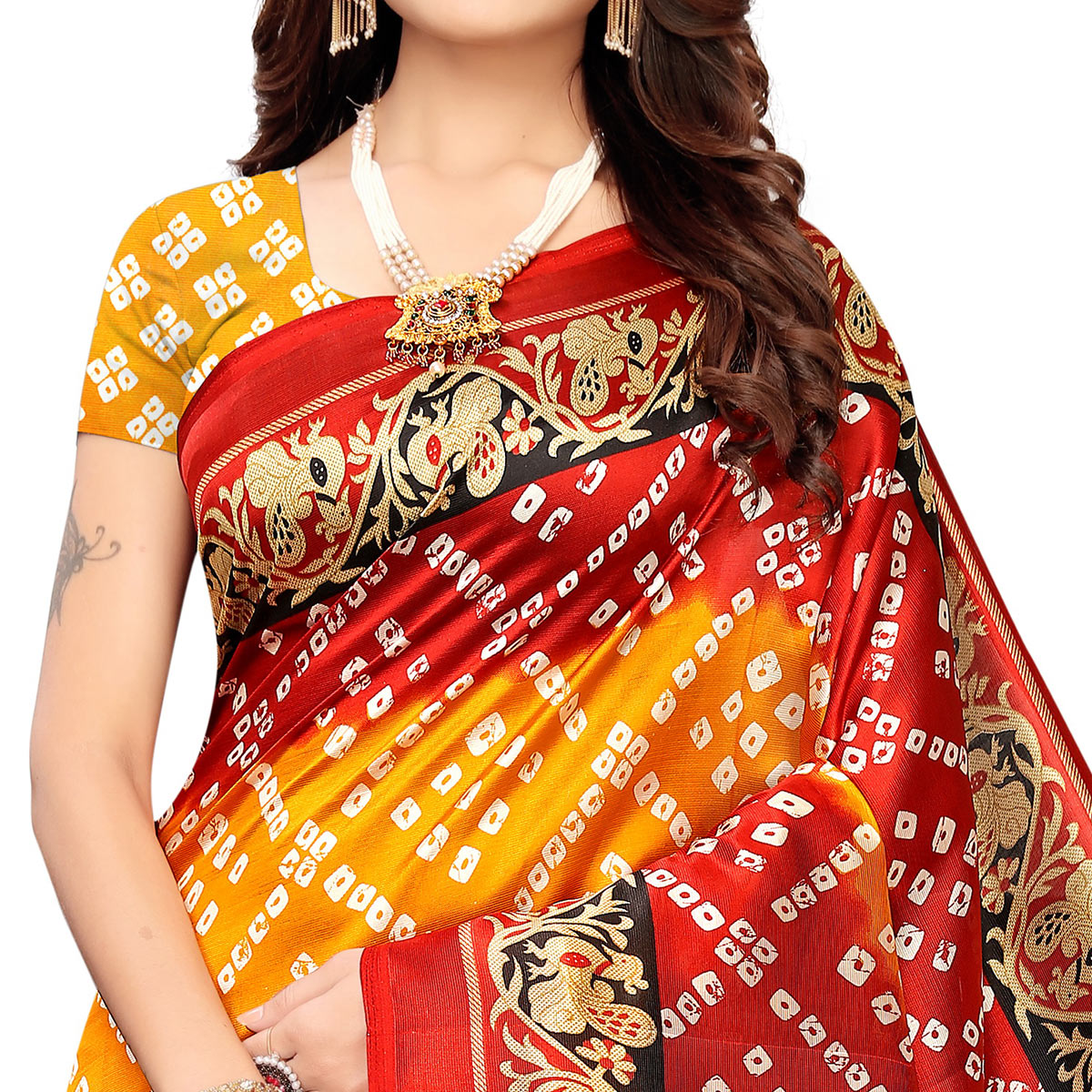 Intricate Yellow-Red Colored Casual Wear Printed Art Silk Saree