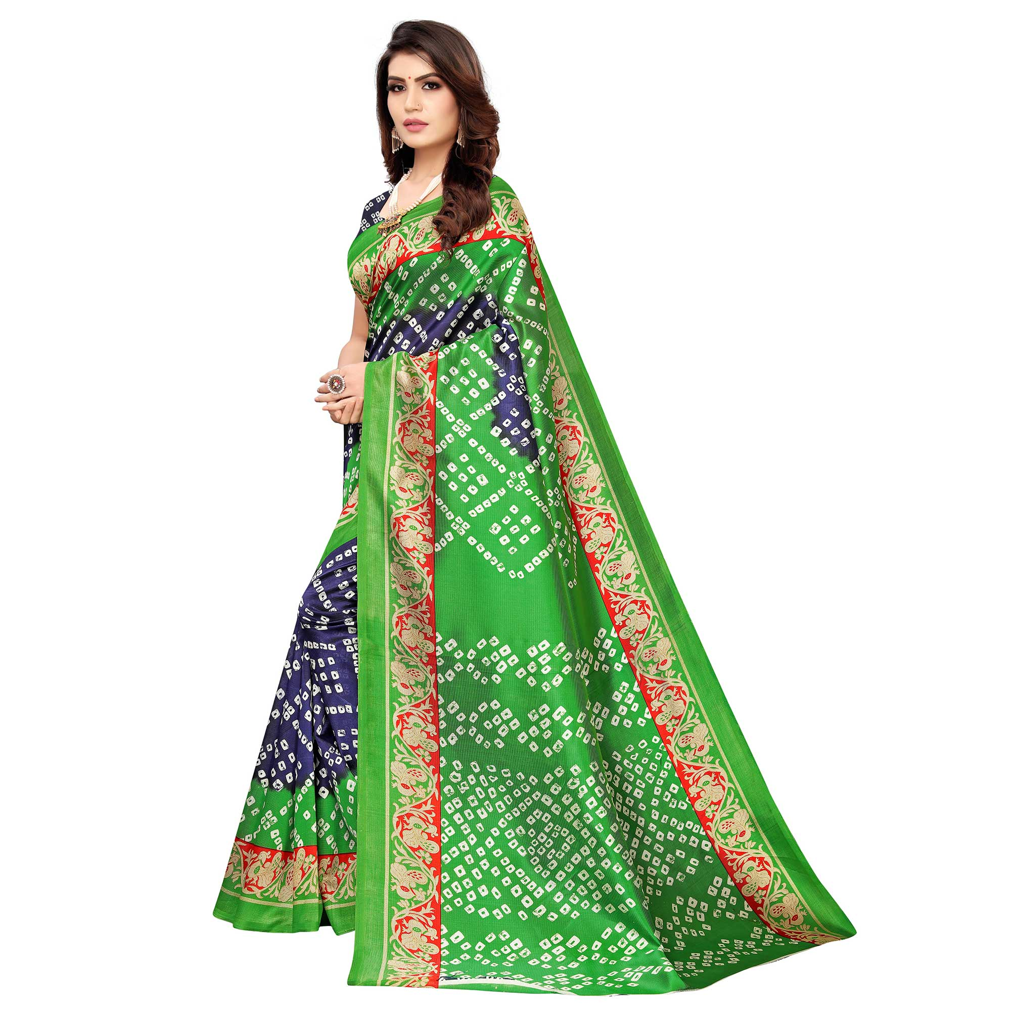 Arresting Blue-Green Colored Casual Wear Printed Art Silk Saree