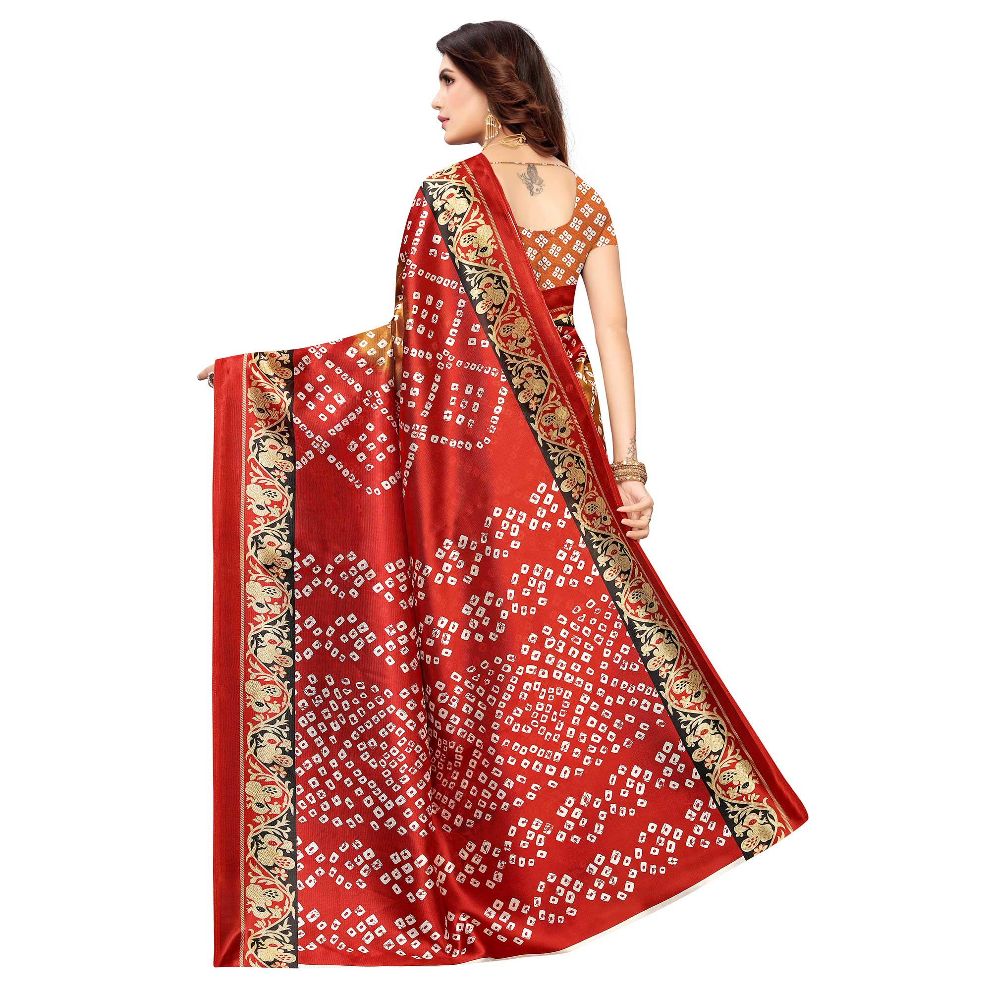 Desirable Brown-Red Colored Casual Wear Printed Art Silk Saree