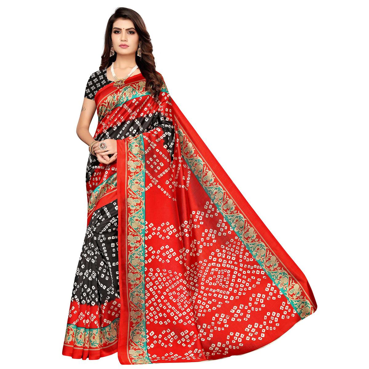Exotic Black-Red Colored Casual Wear Printed Art Silk Saree
