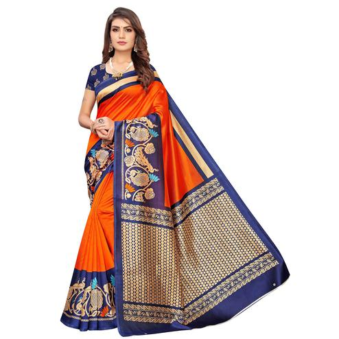 Elegant Orange Colored Casual Wear Printed Art Silk Saree