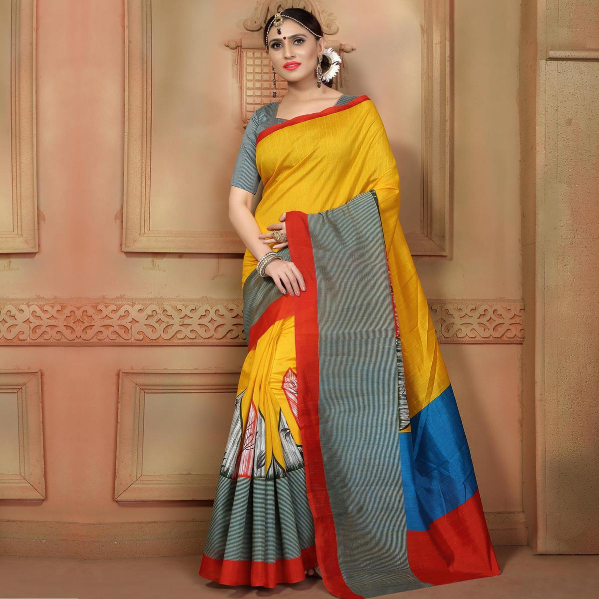 Yellow - Grey Printed Saree