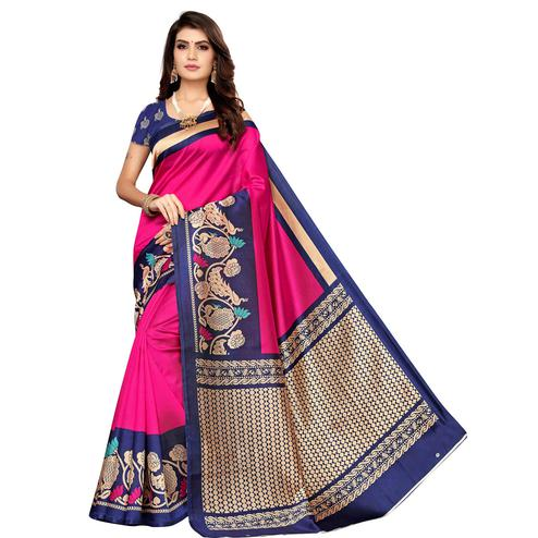 Radiant Pink Colored Casual Wear Printed Art Silk Saree