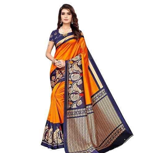 Pleasant Yellow Colored Casual Wear Printed Art Silk Saree