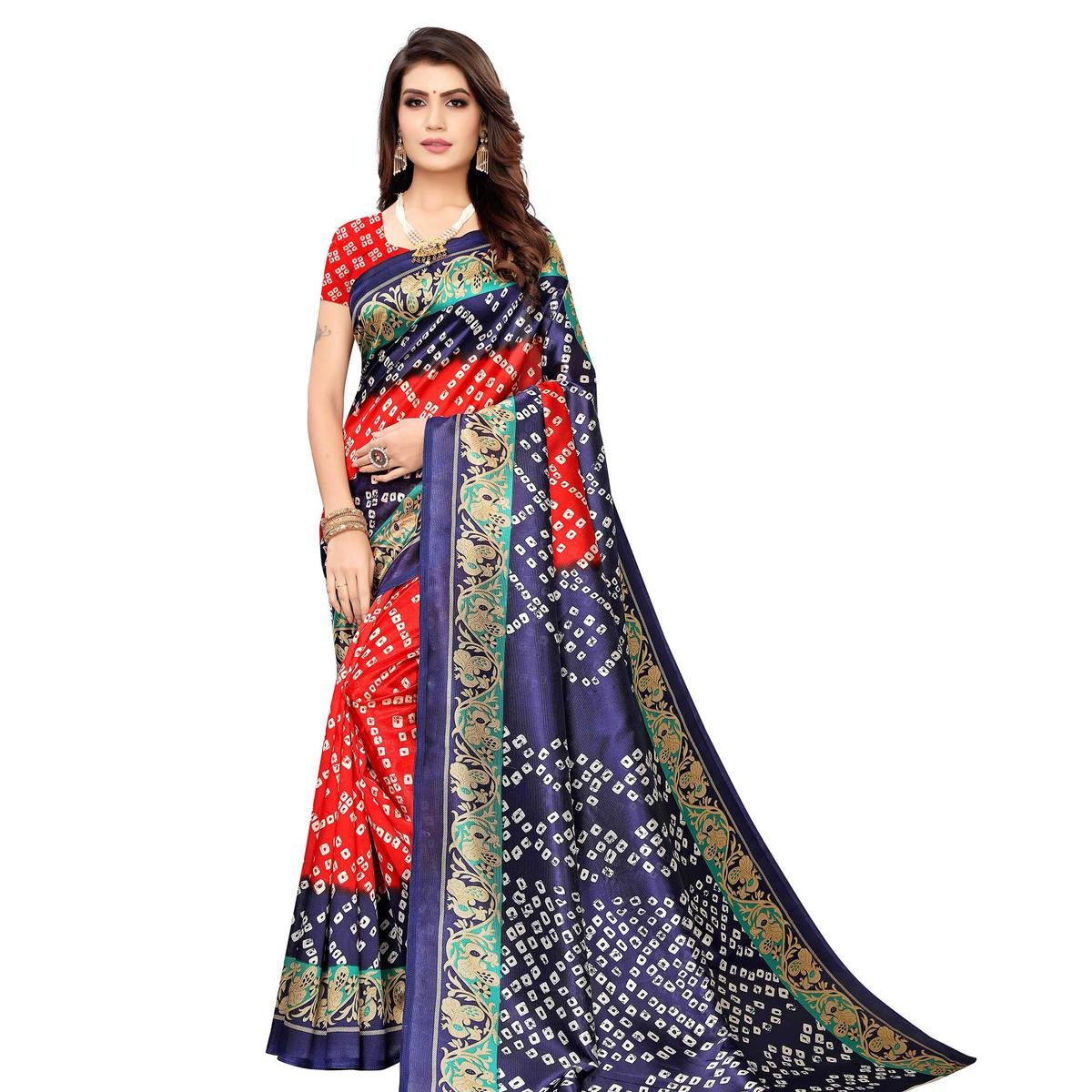 Energetic Red-Blue Colored Casual Wear Printed Art Silk Saree