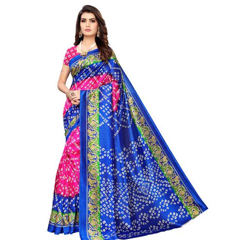 Glowing Pink-Blue Colored Casual Wear Printed Art Silk Saree