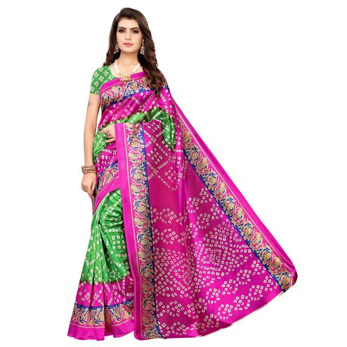 Gleaming Green-Pink Colored Casual Wear Printed Art Silk Saree