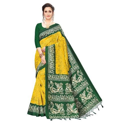 Attractive Yellow Colored Festive Wear Printed Art Silk Saree