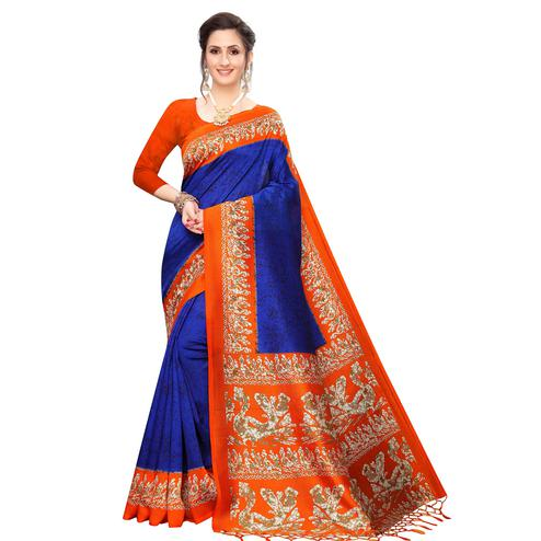 Beautiful Blue Colored Festive Wear Printed Art Silk Saree
