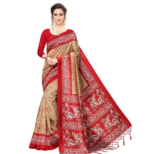 Blooming Beige Colored Festive Wear Printed Art Silk Saree
