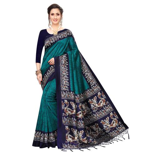 Charming Teal Green Colored Festive Wear Printed Art Silk Saree