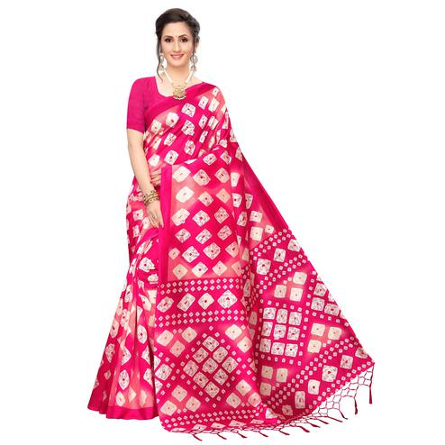 Delightful Pink Colored Festive Wear Printed Art Silk Saree