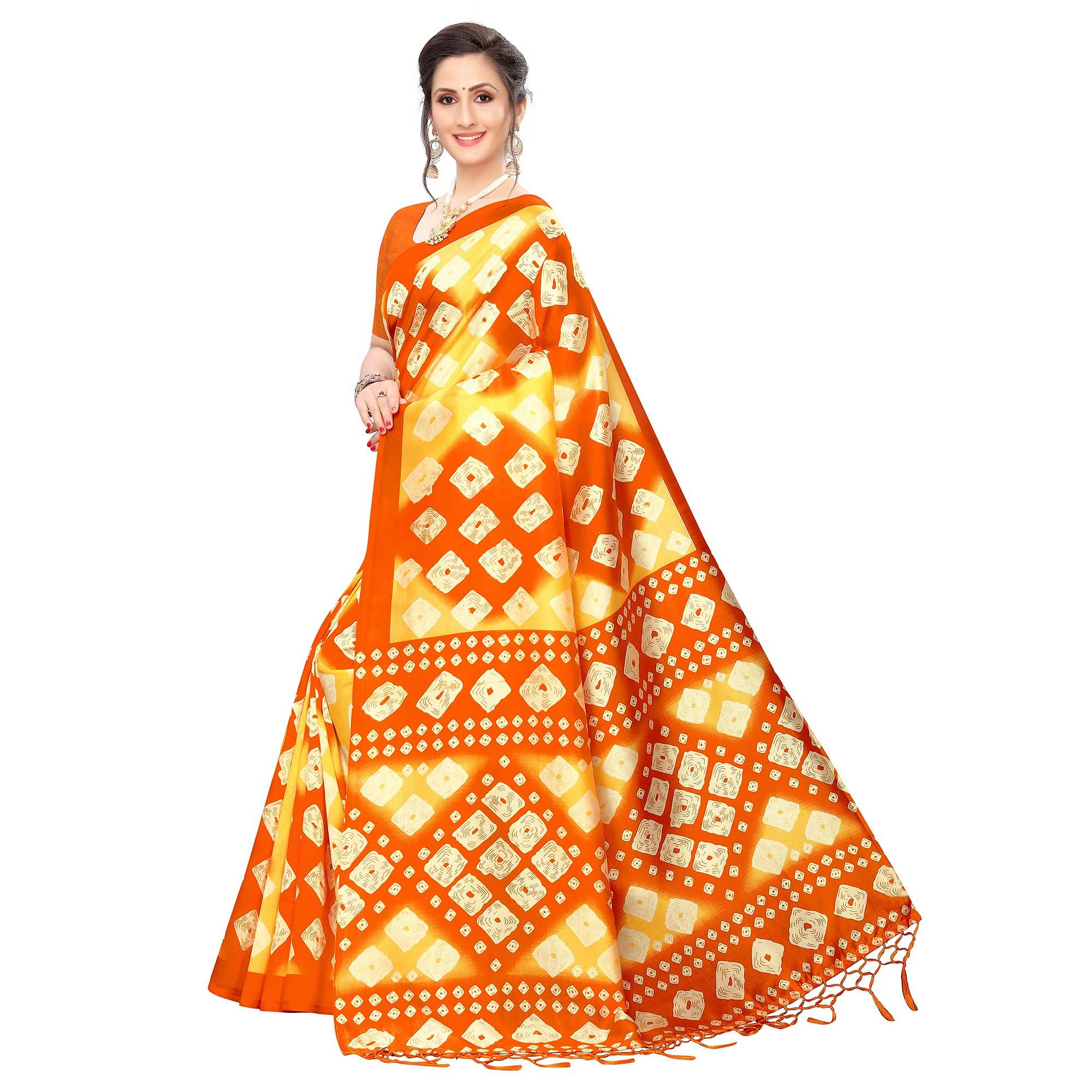 Engrossing Yellow Colored Festive Wear Printed Art Silk Saree