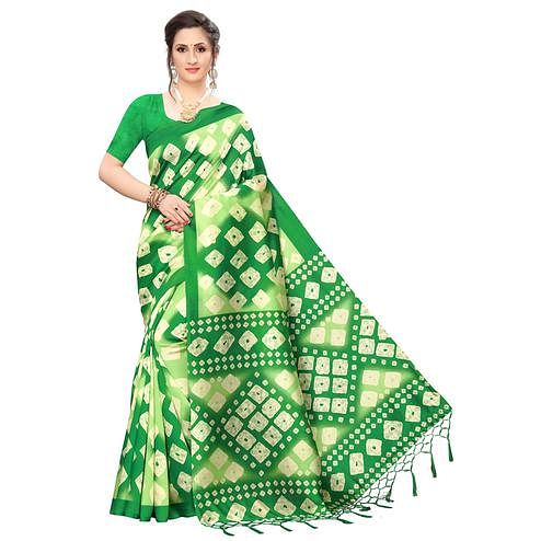 Captivating Green Colored Festive Wear Printed Art Silk Saree