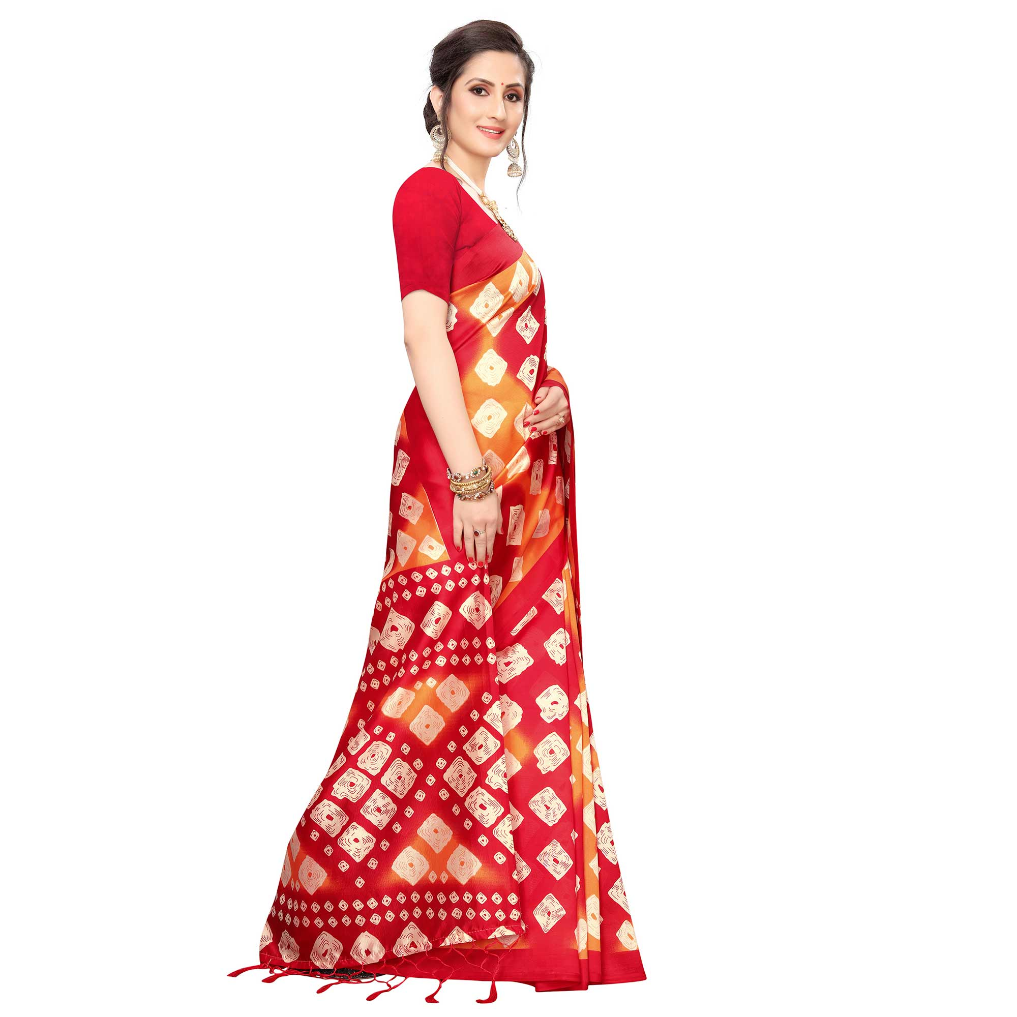 Innovative Red Colored Festive Wear Printed Art Silk Saree