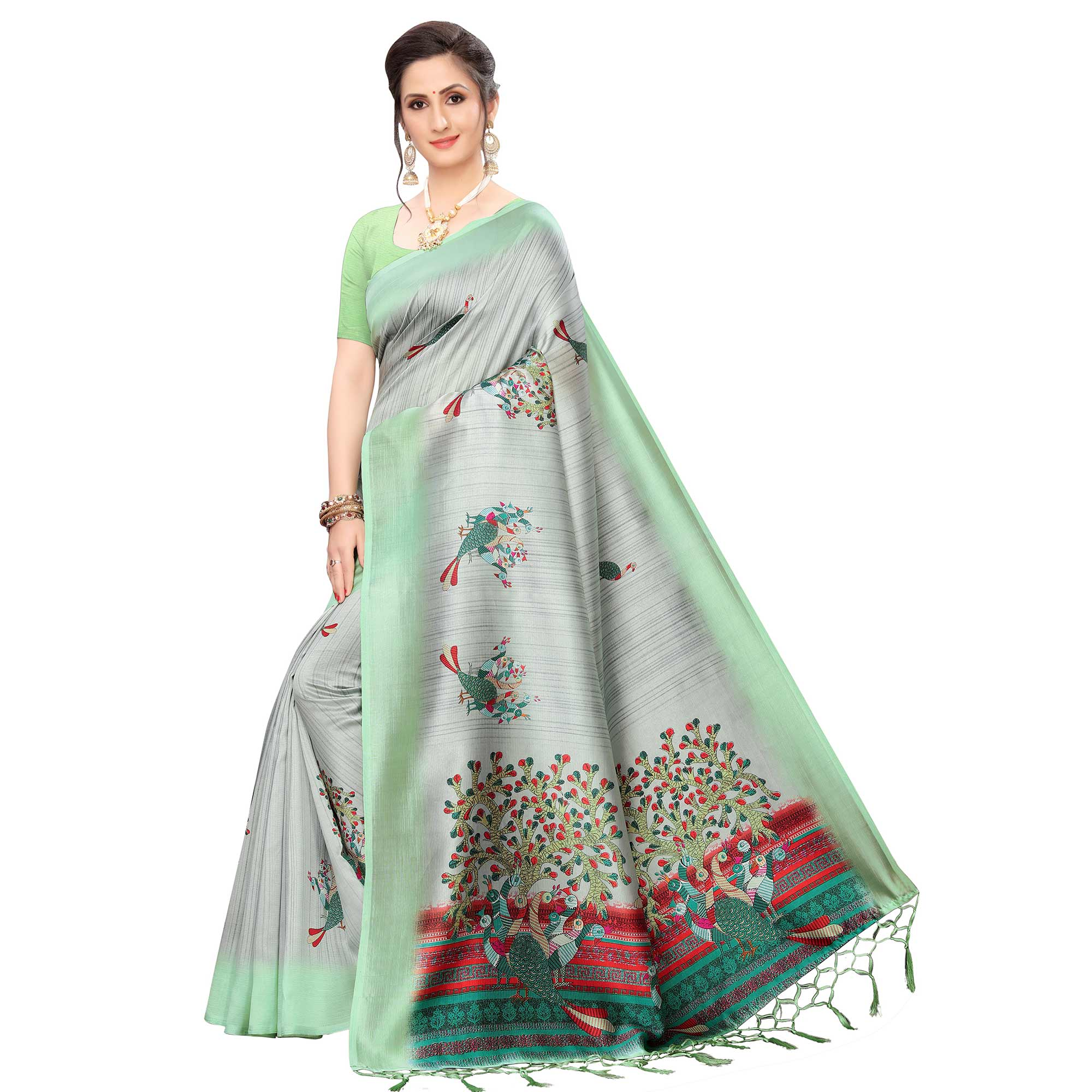 Eye-catching Grey-Green Colored Festive Wear Peacock Printed Art Silk Saree
