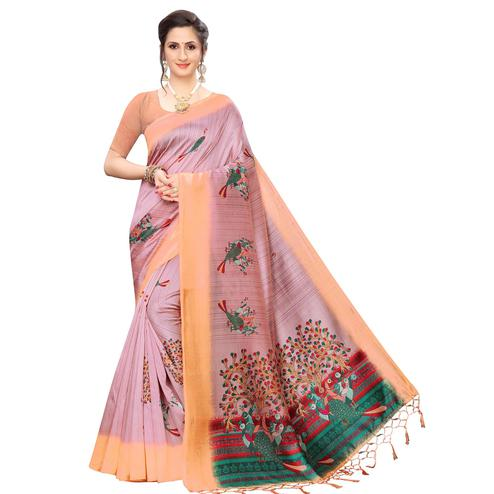 Fantastic Mauve Colored Festive Wear Peacock Printed Art Silk Saree