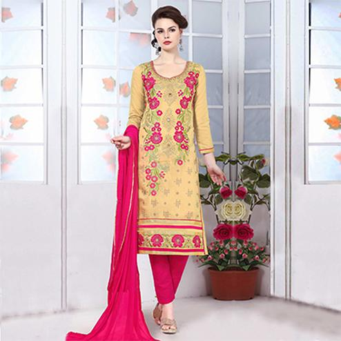 Dark Beige Embroidered Salwar Suit