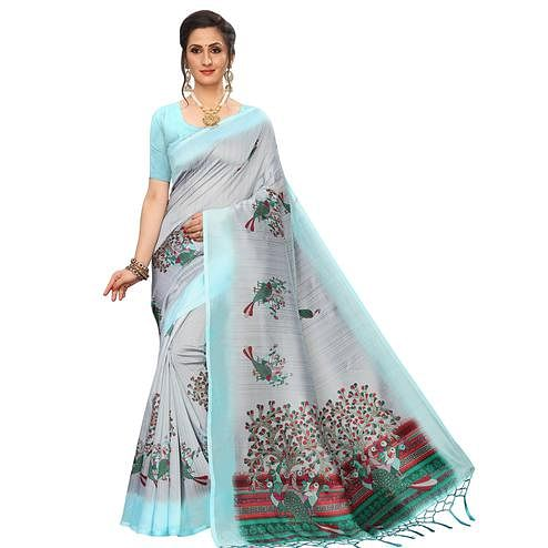 Amazing Grey-Blue Colored Festive Wear Peacock Printed Art Silk Saree