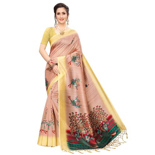 Gorgeous Peach Colored Festive Wear Peacock Printed Art Silk Saree