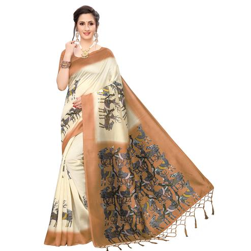 Blissful Cream-Rust Orange Colored Festive Wear Printed Art Silk Saree