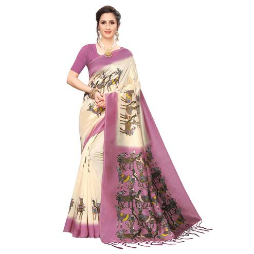 Ideal Cream-Mauve Colored Festive Wear Printed Art Silk Saree
