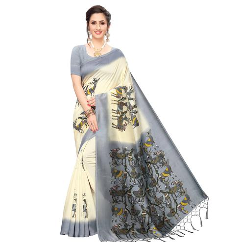 Imposing Cream-Grey Colored Festive Wear Printed Art Silk Saree