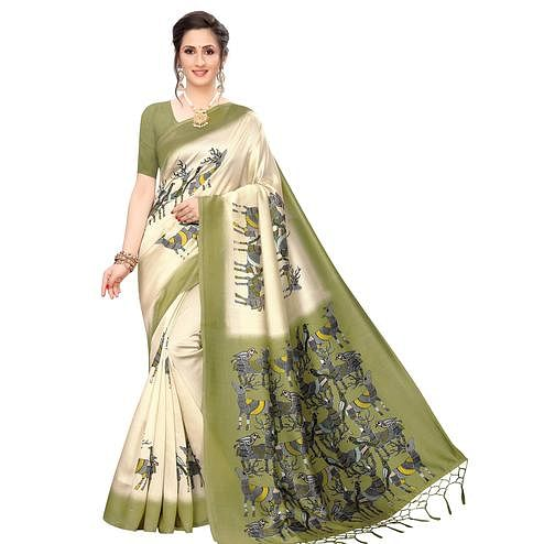 Lovely Cream-Olive Green Colored Festive Wear Printed Art Silk Saree