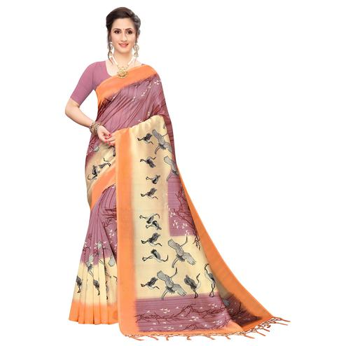 Majesty Mauve Colored Festive Wear Printed Art Silk Saree