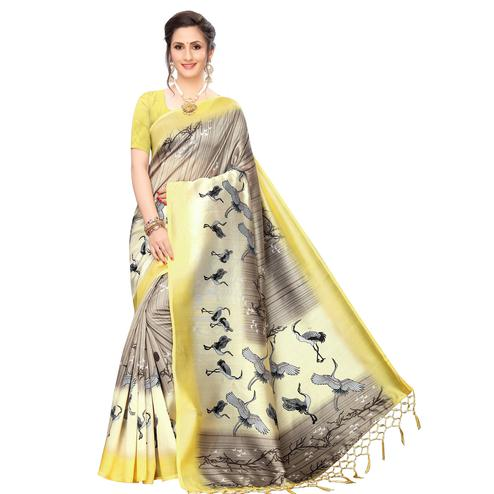 Impressive Grey Colored Festive Wear Printed Art Silk Saree