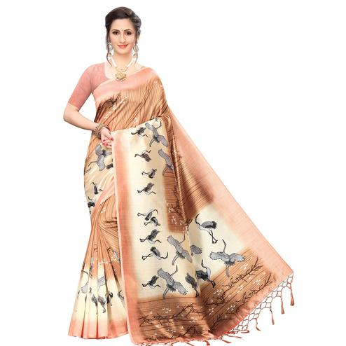 Mesmerising Peach Colored Festive Wear Printed Art Silk Saree