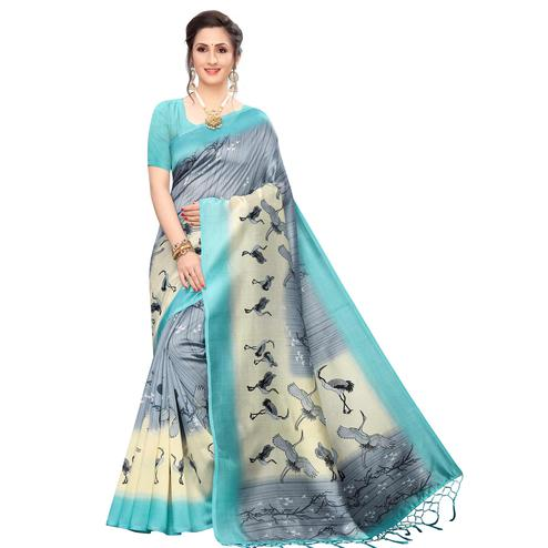 Pleasance Bluish Grey Colored Festive Wear Printed Art Silk Saree
