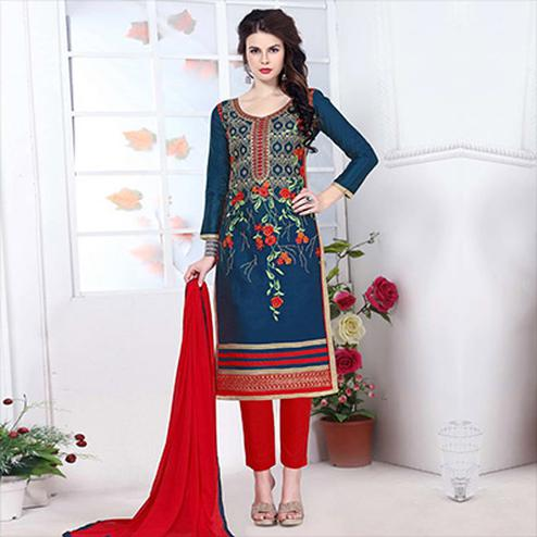 Navy Blue Embroidered Salwar Suit