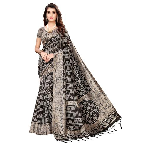 Ethnic Black-Beige Colored Festive Wear Printed Art Silk Saree