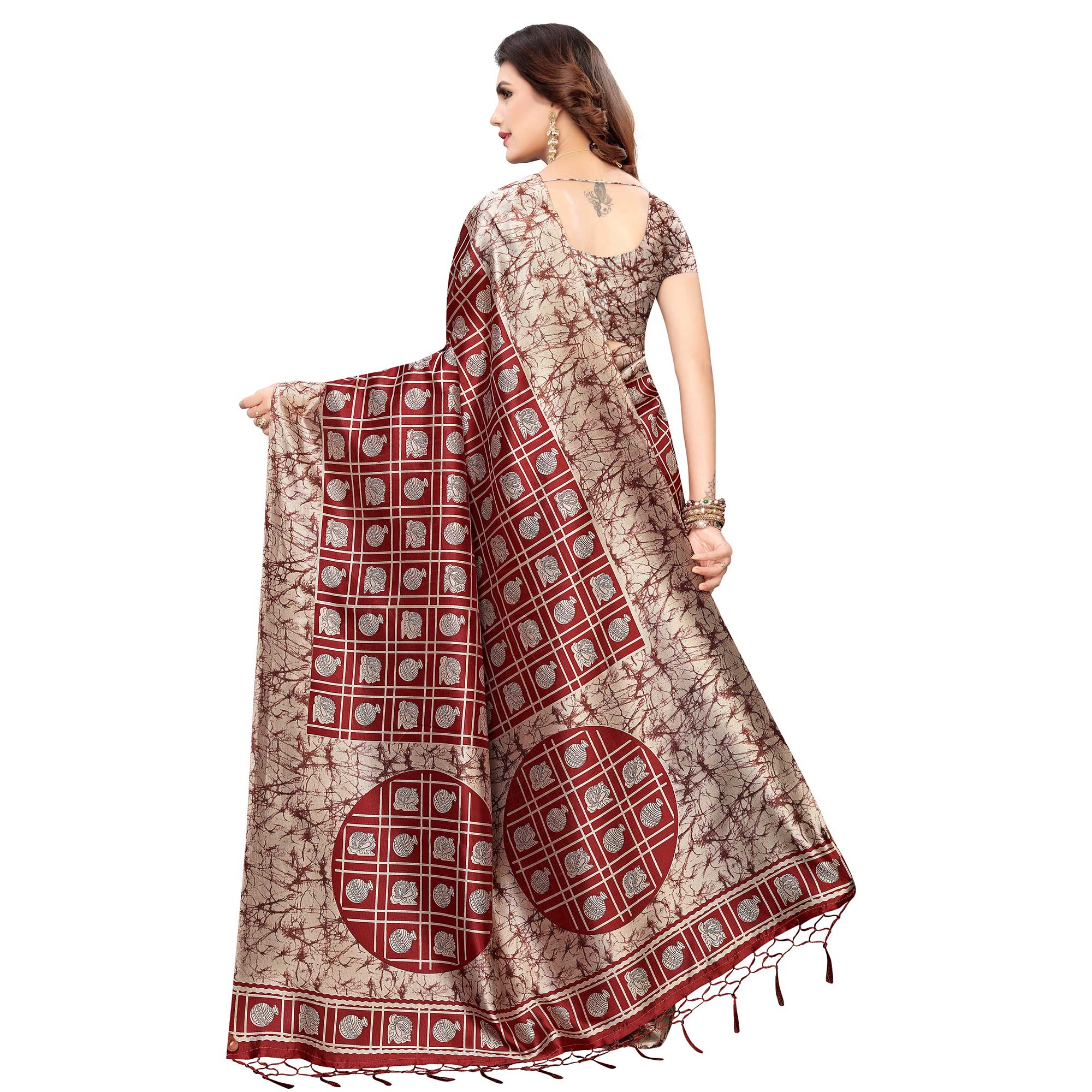 Ravishing Maroon Colored Festive Wear Printed Art Silk Saree