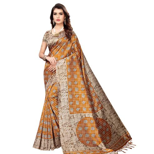 Staring Mustard Yellow Colored Festive Wear Printed Art Silk Saree