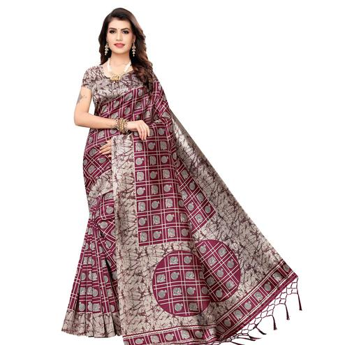 Dazzling Wine Colored Festive Wear Printed Art Silk Saree