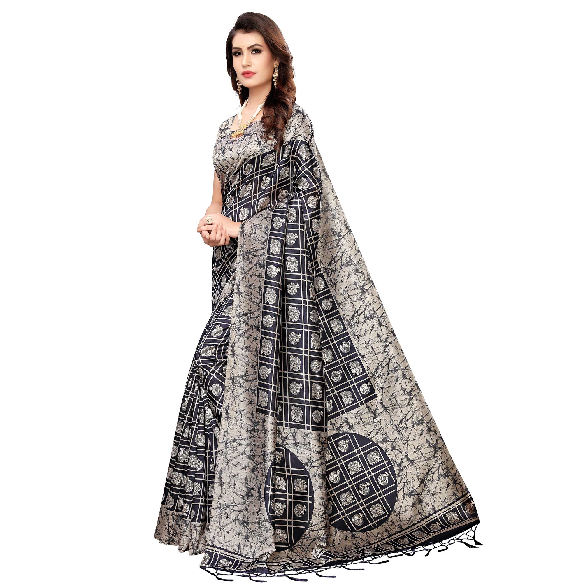 Surpassing Black-Grey Colored Festive Wear Printed Art Silk Saree