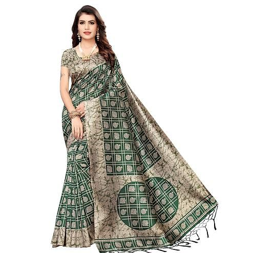 Unique Green Colored Festive Wear Printed Art Silk Saree