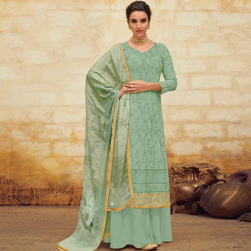 Ravishing Mint Green Colored Partywear Embroidered Georgette Palazzo Suit