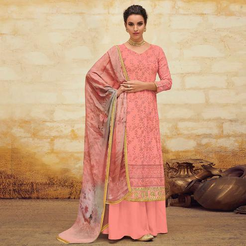 Staring Pink Colored Partywear Embroidered Georgette Palazzo Suit