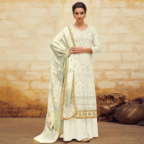 Dazzling Cream Colored Partywear Embroidered Georgette Palazzo Suit