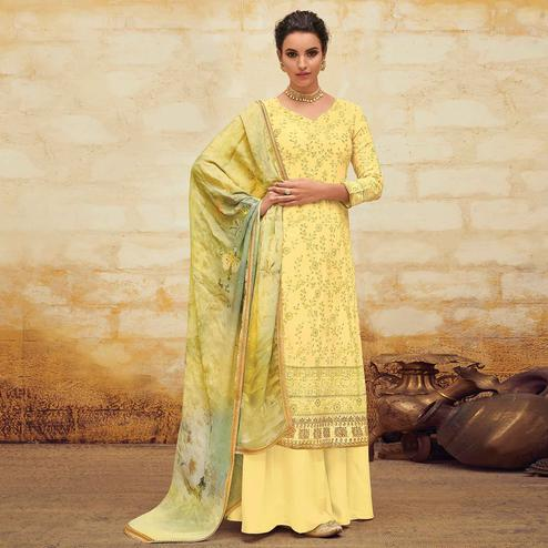 Surpassing Yellow Colored Partywear Embroidered Georgette Palazzo Suit