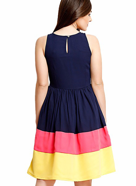 3 Color Faux Crepe Dress