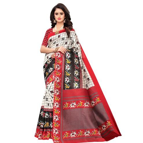 Adorable White Colored Casual Wear Printed Art Silk Saree