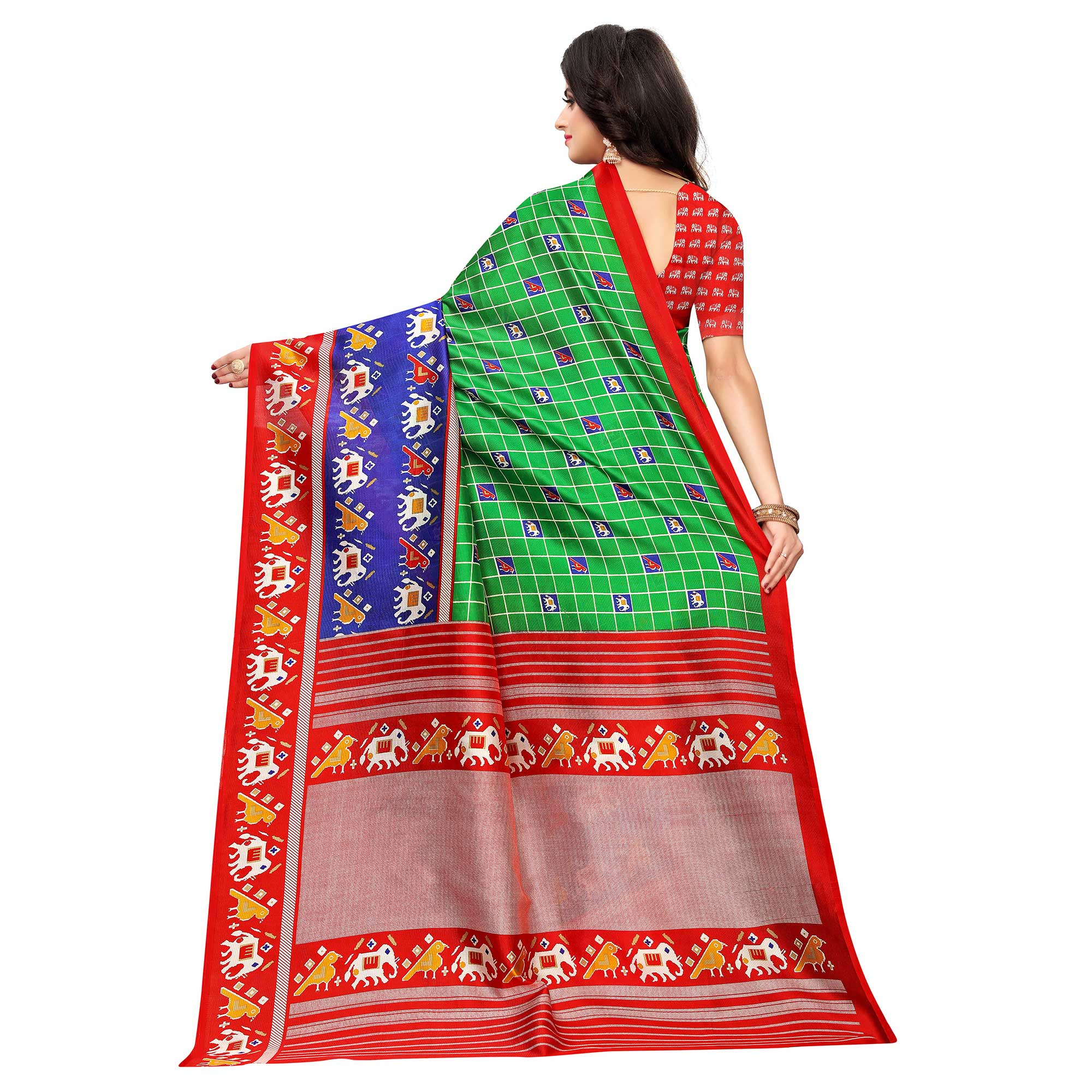 Glorious Green Colored Casual Wear Printed Art Silk Saree