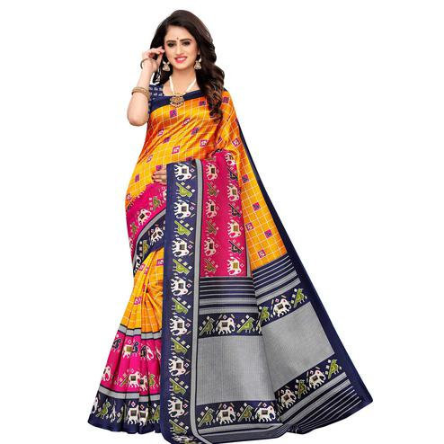 Attractive Mustard Yellow Colored Casual Wear Printed Art Silk Saree